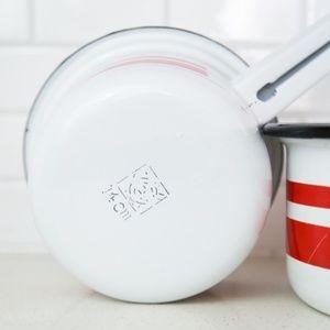 Vintage Kitchen - Vintage Enamelware Set Two White / Red Sauce Pans